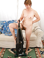 All natural and hairy MILF Ember has fun with housework